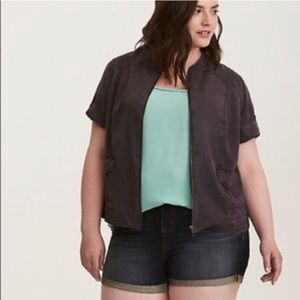 Grey silk utility shirt jacket